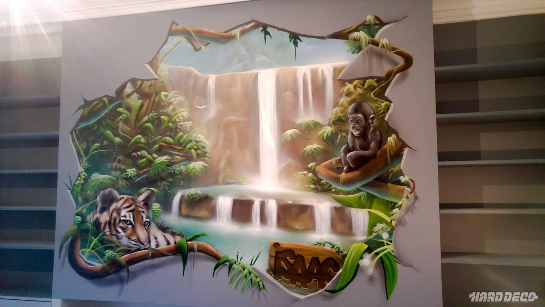 Deco Mur Casse Jungle Tigre Singe Hard Deco
