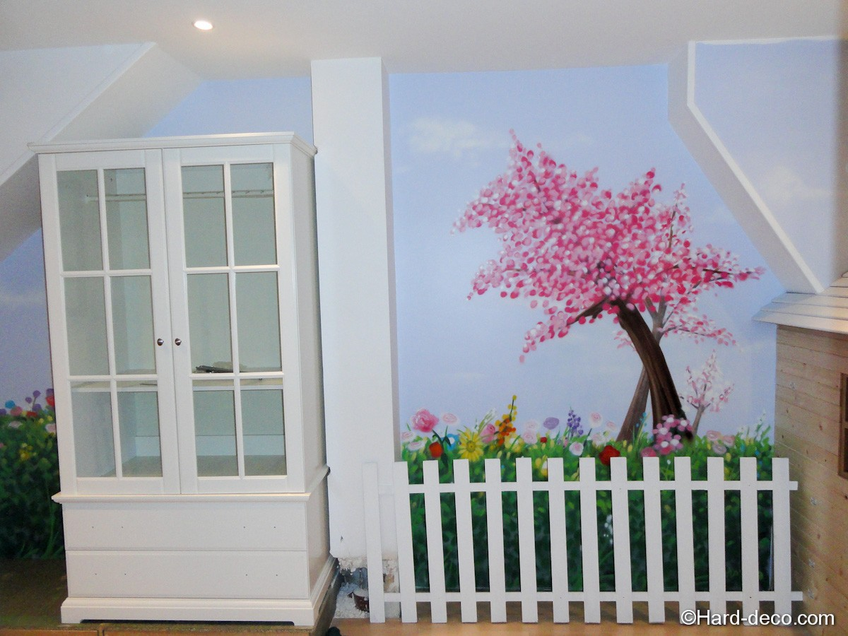 Chambre nature cerisier japonais hard deco - Deco peinture murale ...