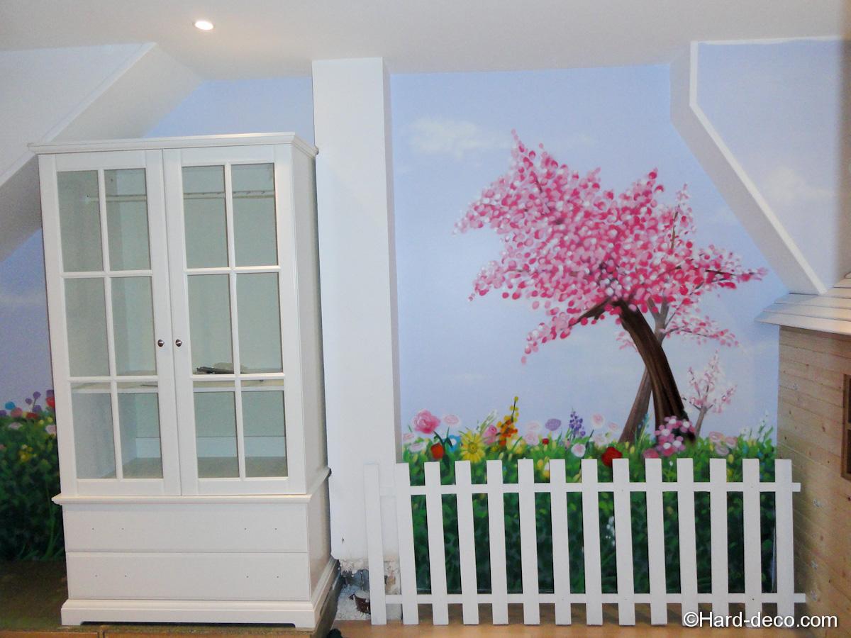 chambre nature cerisier japonais hard deco. Black Bedroom Furniture Sets. Home Design Ideas