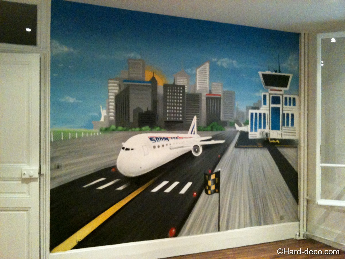 Fresque murale avion hard deco - Chambre garcon avion ...