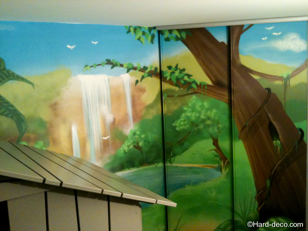 Chambre fille jungle for Decoration murale jungle