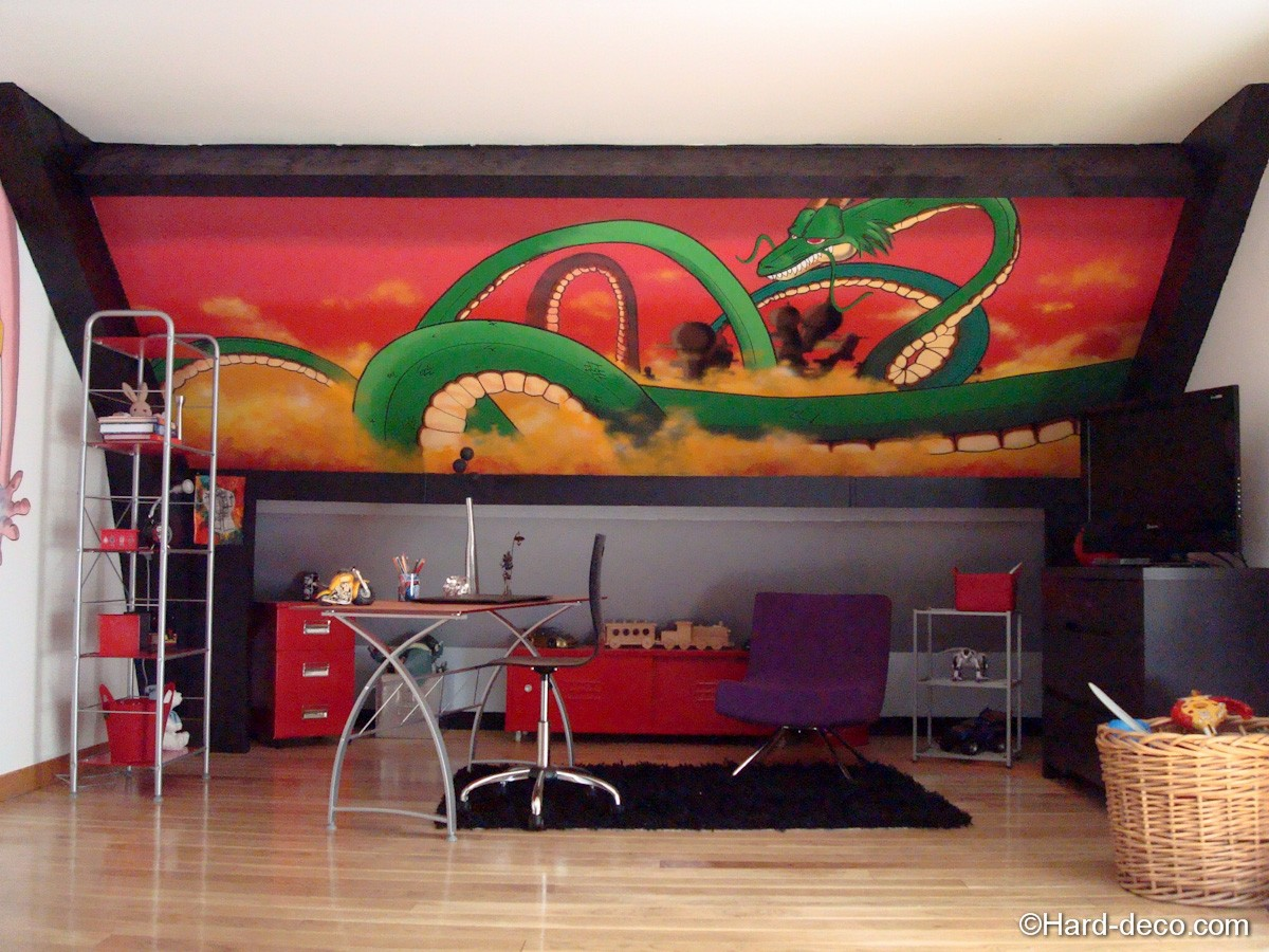 fresque mural dragon ball sheron hard deco. Black Bedroom Furniture Sets. Home Design Ideas