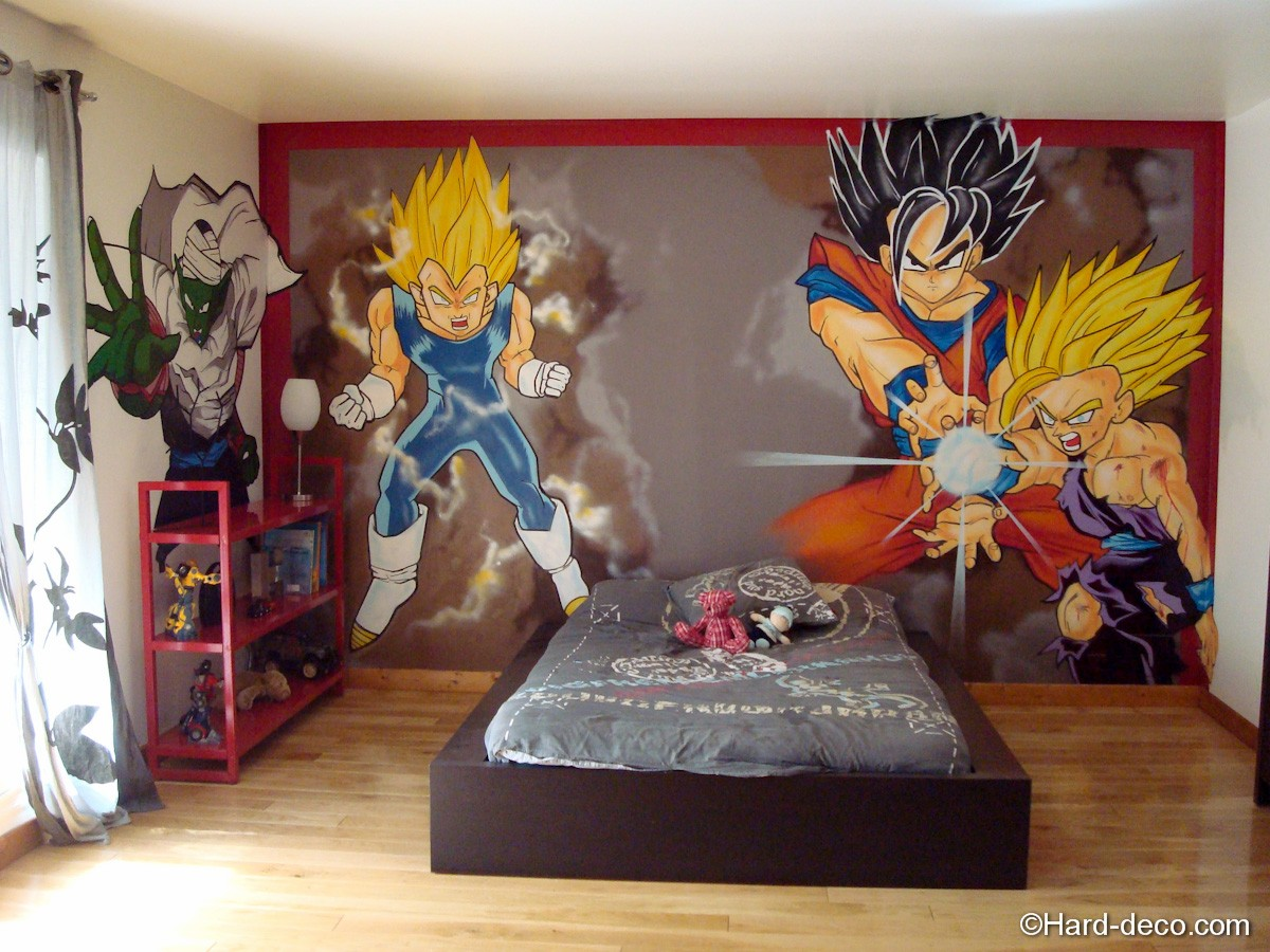 chambre manga dragon ball z hard deco. Black Bedroom Furniture Sets. Home Design Ideas
