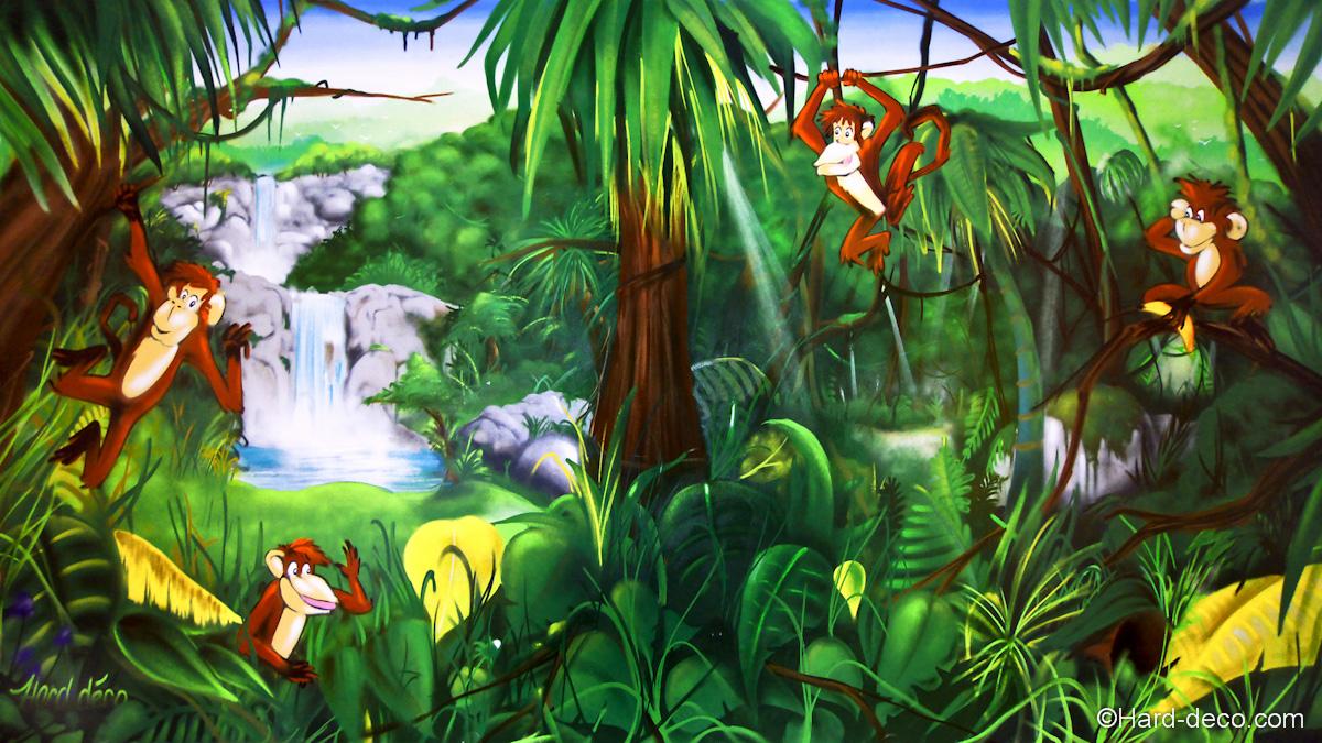 Singes de la jungle hard deco - Deco chambre jungle ...