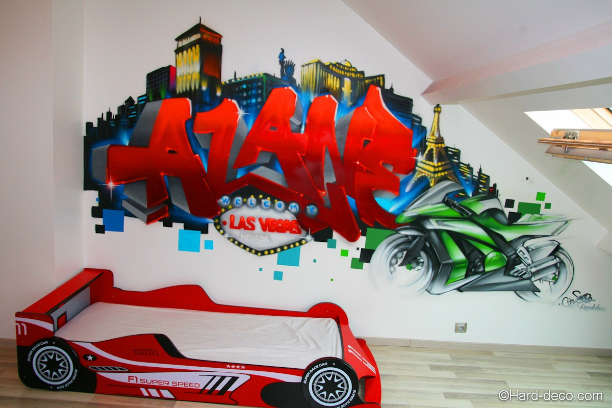 D co graffiti las vegas pouur la chambre d 39 alane for Deco chambre garcon voiture