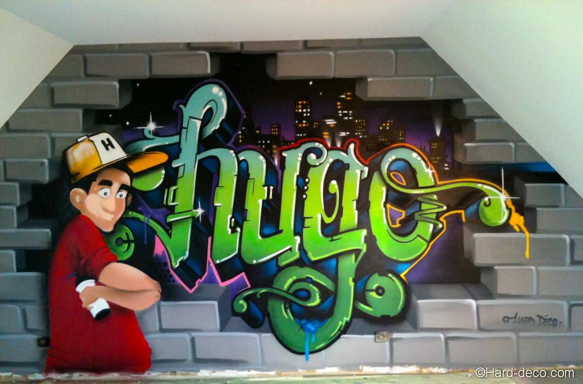 graffiti chambre d 39 hugo hard deco. Black Bedroom Furniture Sets. Home Design Ideas