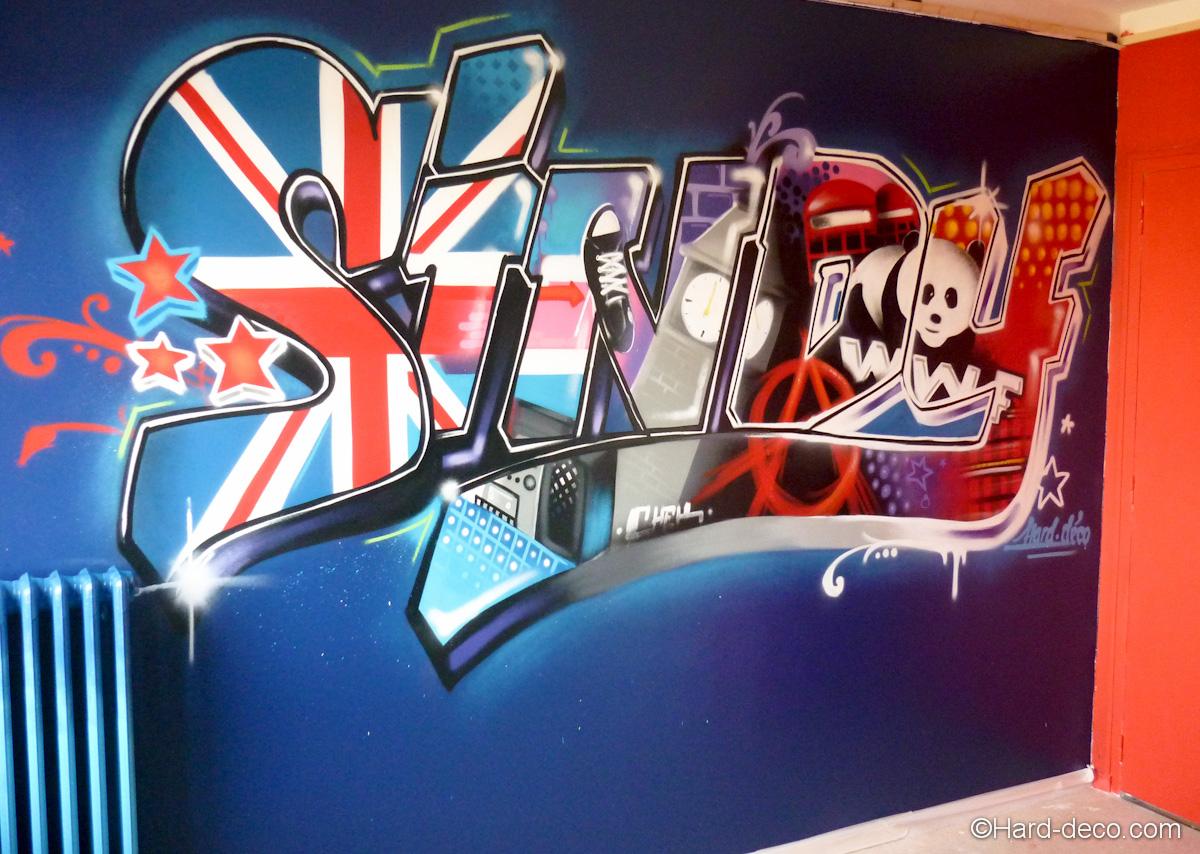 D coration graffiti pr nom pour chambre d 39 enfant Deco anglaise chambre ado