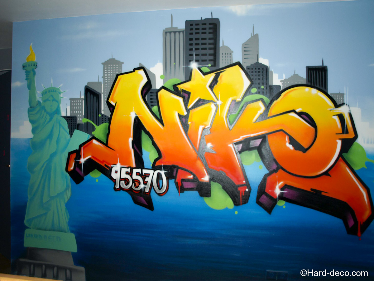 Composition graffiti sur le mur de la chambre du surnom for Deco mur de chambre