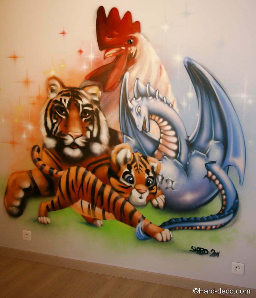 D cor murale chambre d 39 enfant animaux de l 39 astrologie chinoise for Types de peintures murales