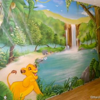 Fresques d cors muraux et graffitis pour chambre de for Decoration chambre le roi lion