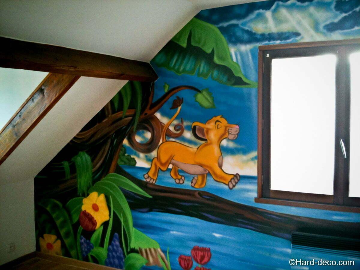 une fresque murale dans la chambre du petit kerian en savoir plus bois bassdona. Black Bedroom Furniture Sets. Home Design Ideas