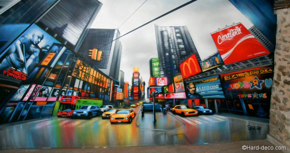 D coration graffiti sur le th me de time square for Decoration murale vue sur new york