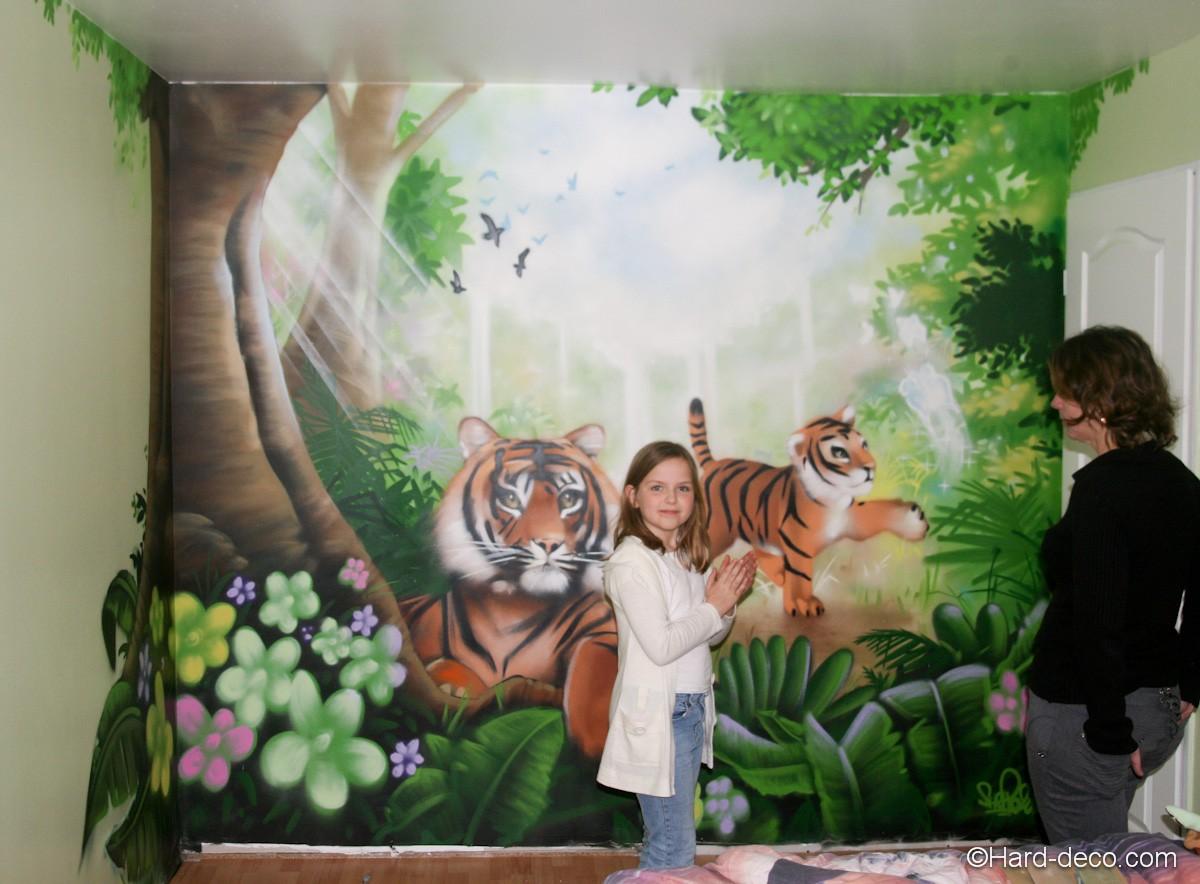Fresque maman b b tigre hard deco - Decoration chambre bebe jungle ...