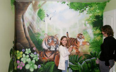 Fresque Maman & bébé tigre