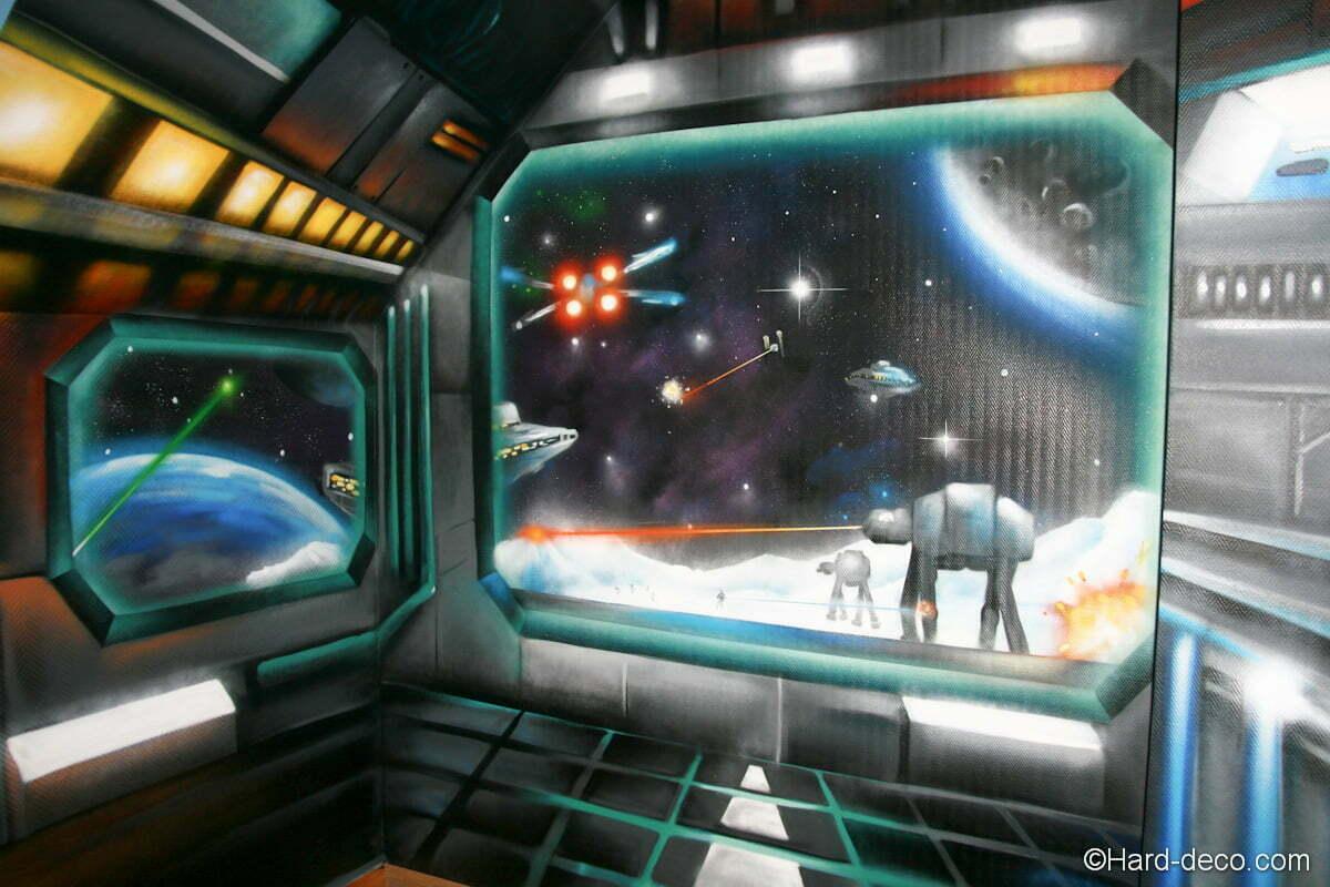 Trompe l 39 oeil vaisseaux star wars hard deco for Interieur vaisseau star wars