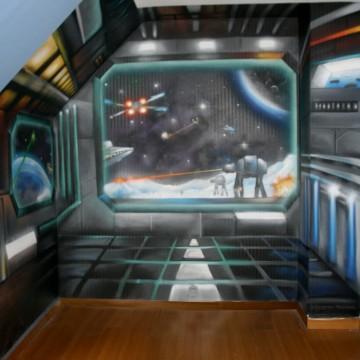 Fresques graffiti et d cors trompe l 39 oeil for Deco de chambre star wars