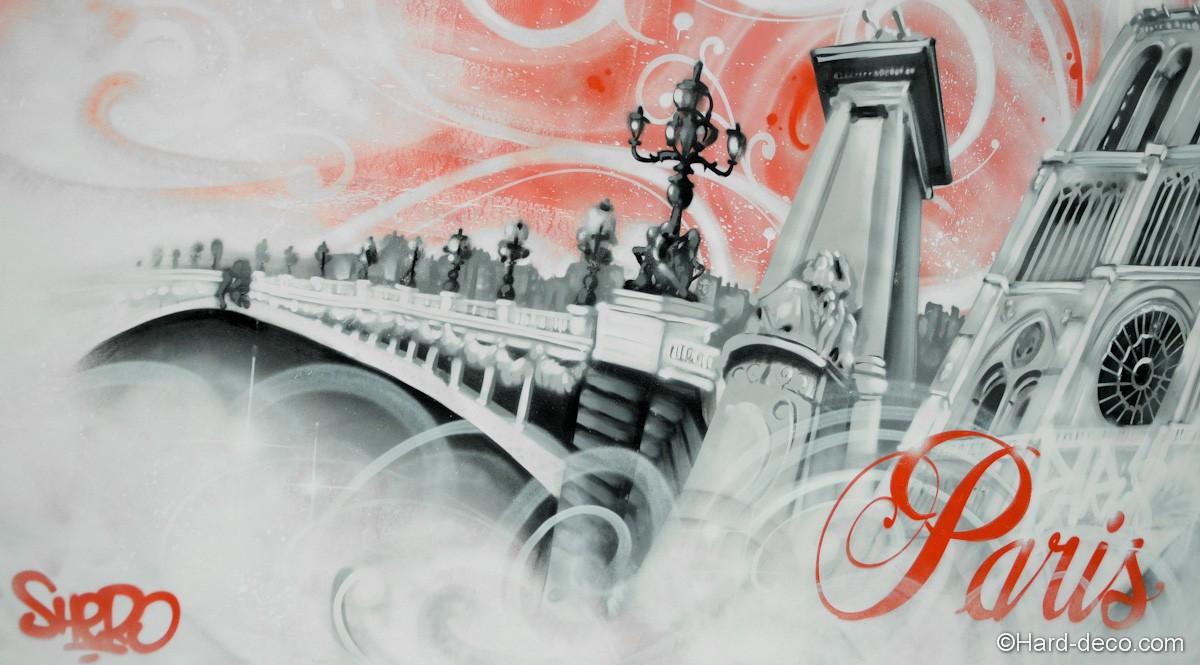 toile pont parisien réalisée en noir et blanc