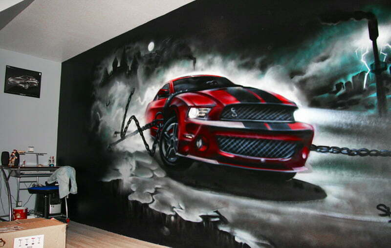 Decoration graffiti Ford Mustang