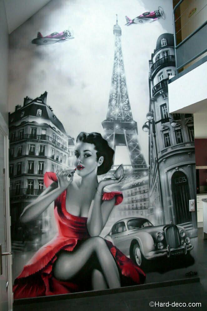 deco fresque villa pinup paris noir blanc 4