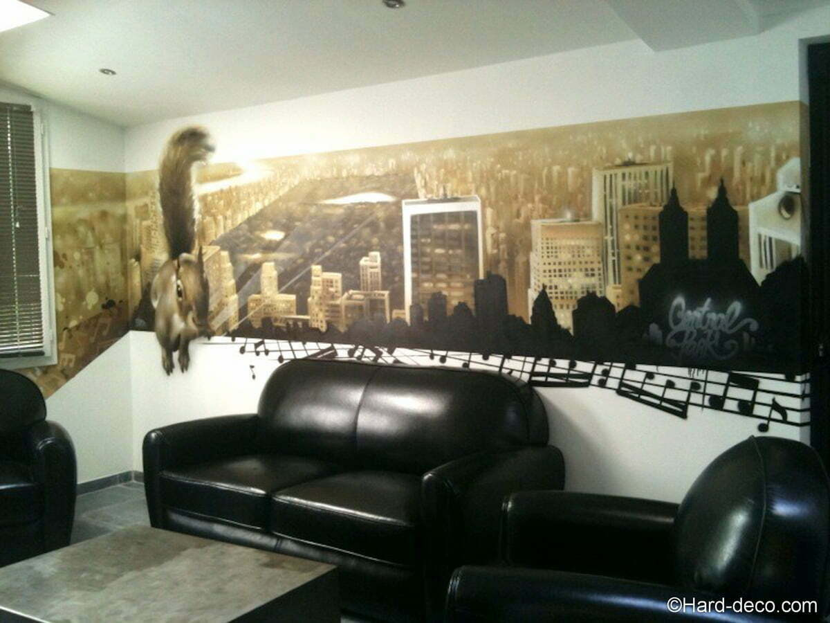 fresque cureuil au central park dans la salle d 39 attente d 39 un studio. Black Bedroom Furniture Sets. Home Design Ideas