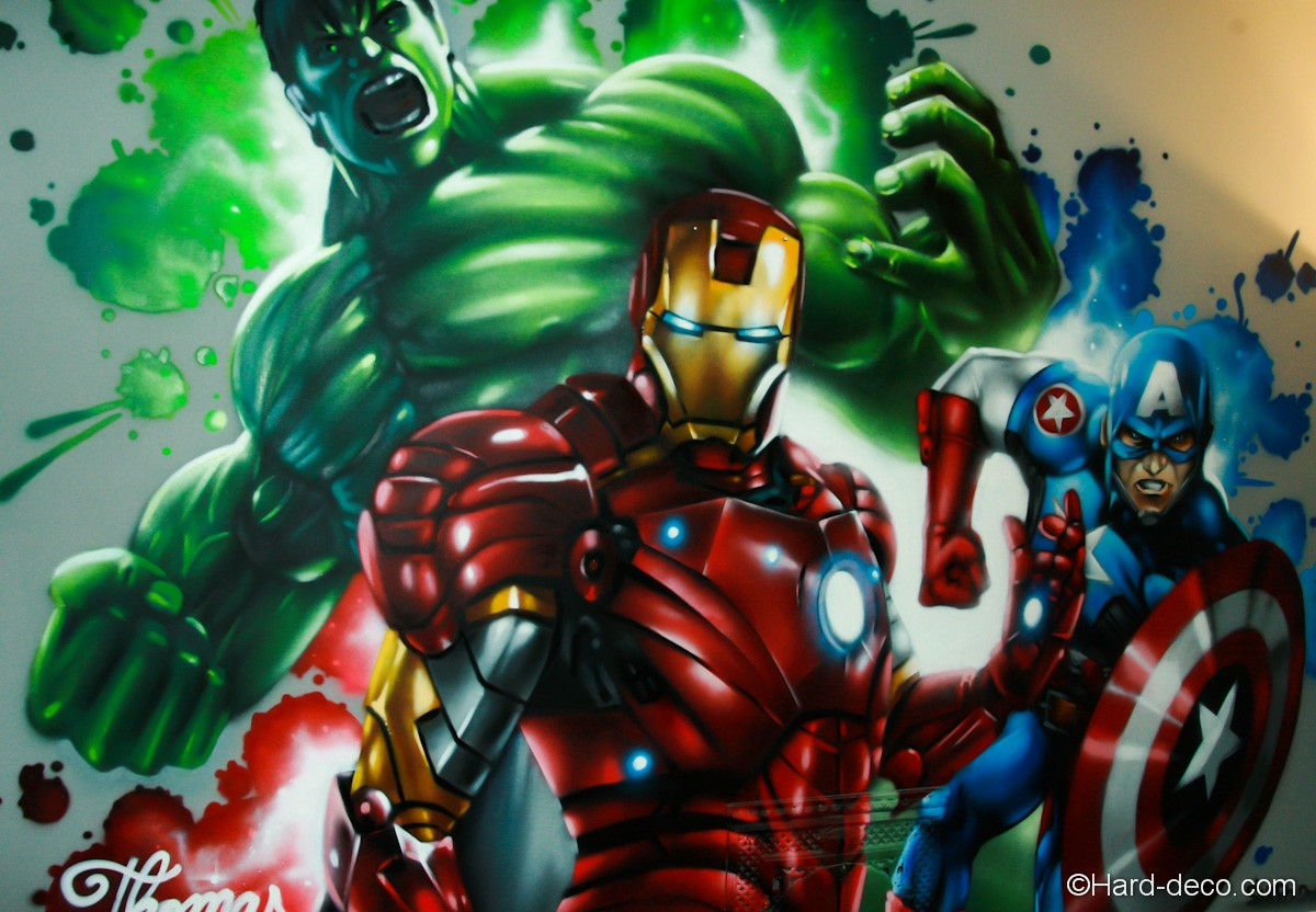 Fresque marvel avengers r alis e dans la chambre de thomas for Maison d iron man