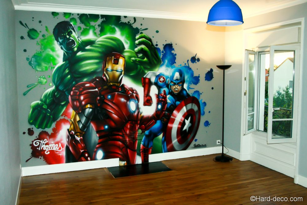 fresque marvel avengers r alis e dans la chambre de thomas. Black Bedroom Furniture Sets. Home Design Ideas