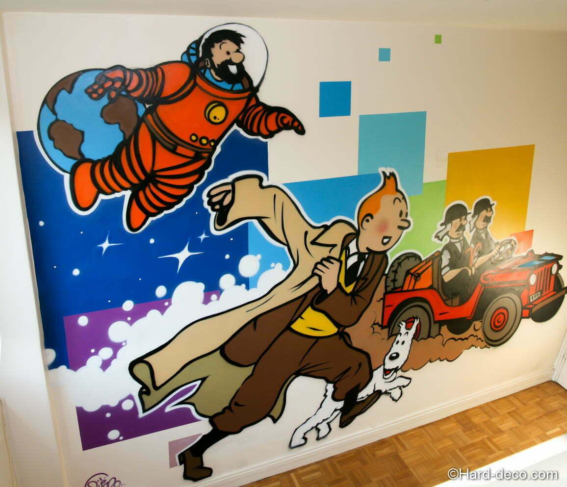 décoration chambre tintin