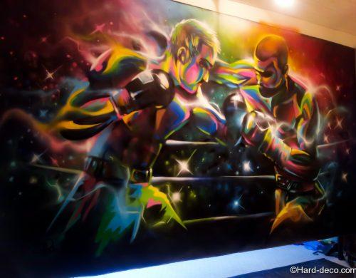 Boxeurs sur toile