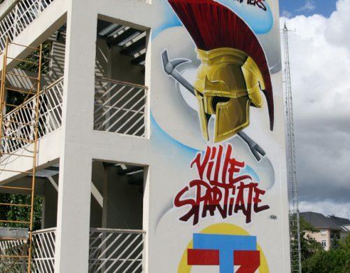 Fresque façade caserne pompiers
