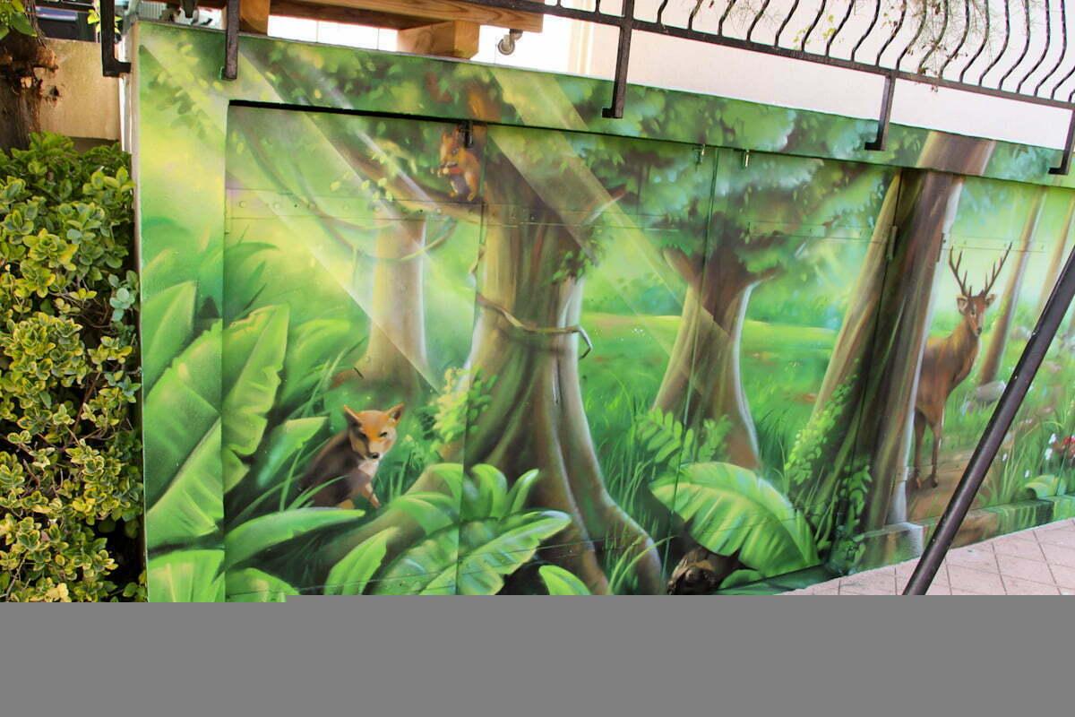 Fresque de jardin chez un particulier d cor de for t et d 39 animaux - Fresque sur mur exterieur ...