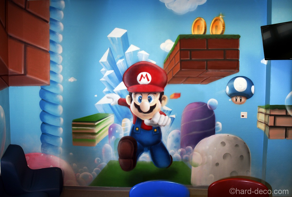 d cor du jeu vid o mario pour les enfants de la clinique. Black Bedroom Furniture Sets. Home Design Ideas