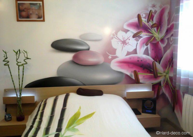 Deco murale chambre design chambre zen fleur de lys et galets empil s - Ambiance chambre zen ...