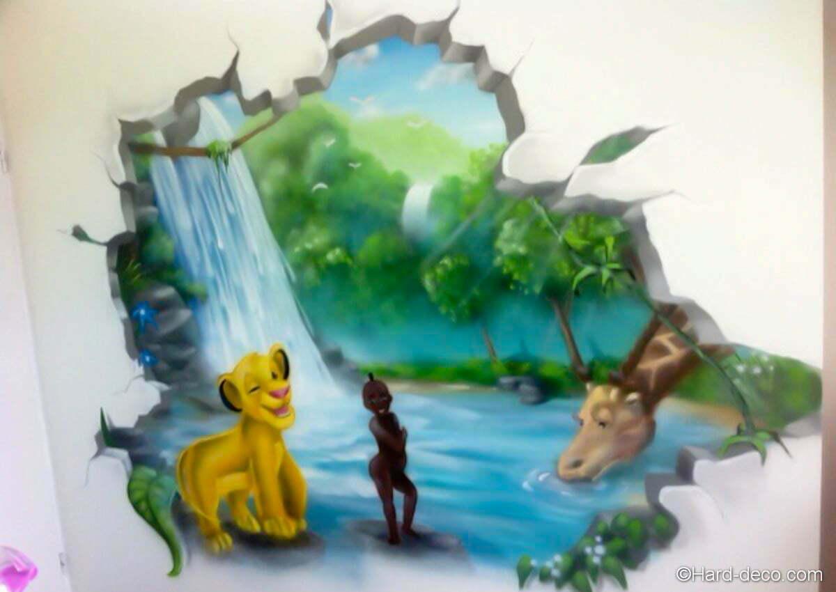 Simba kirikou hard deco for Fresque murale chambre bebe