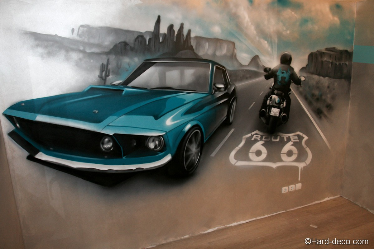 d co murale sur le th me de la route 66 harley et mustang. Black Bedroom Furniture Sets. Home Design Ideas