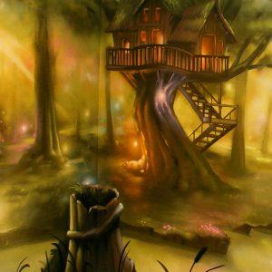 Vue sur la cabane dans l'arbre situé au centre de la fresque