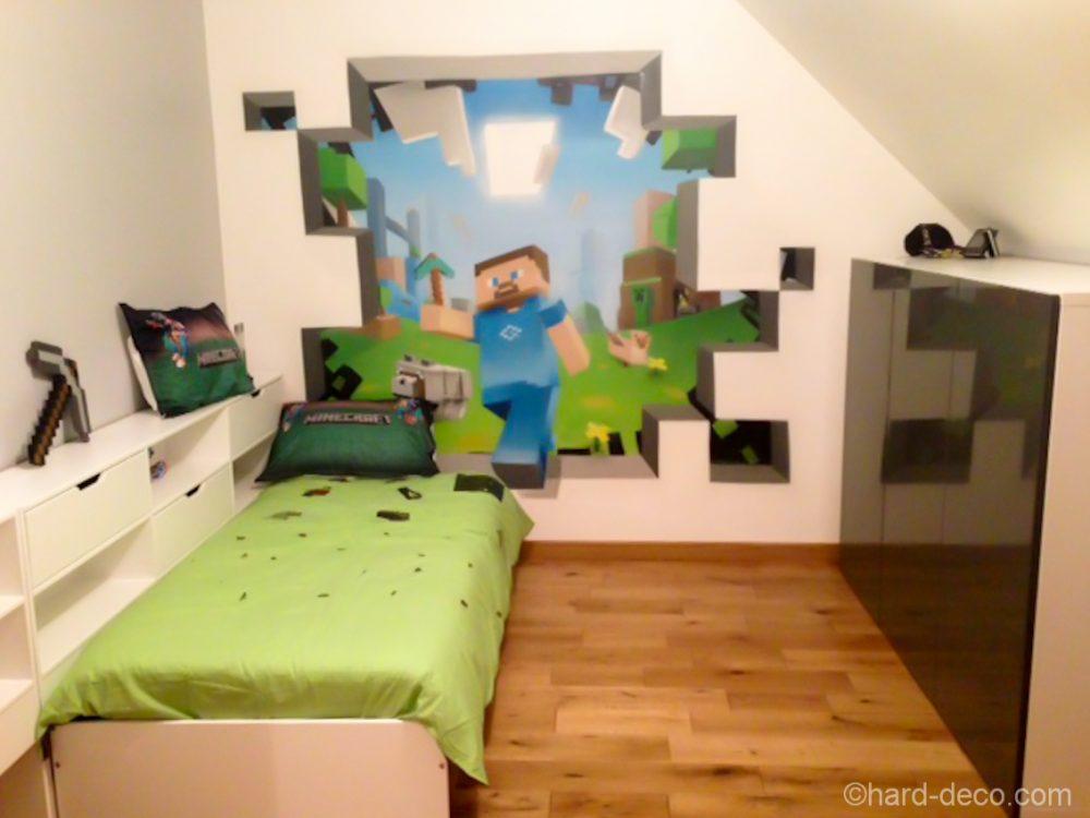 deco murale l 39 aerosol chambre ado jeux vid os minecraft. Black Bedroom Furniture Sets. Home Design Ideas