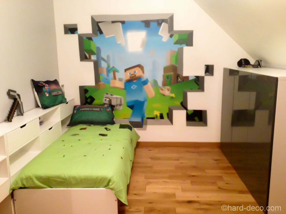 deco murale l 39 aerosol chambre ado jeux vid os minecraft. Black Bedroom Furniture Sets. Home Design Ideas