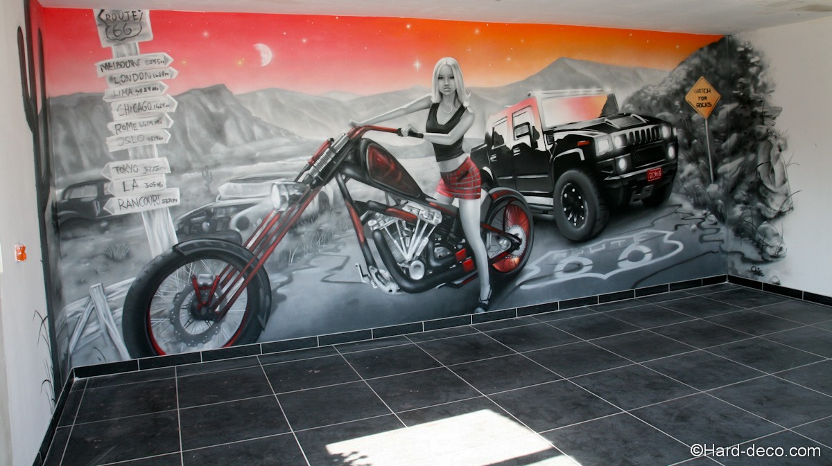 fresque trompe l 39 oeil vue sur la route 66 la harley et le hummer. Black Bedroom Furniture Sets. Home Design Ideas
