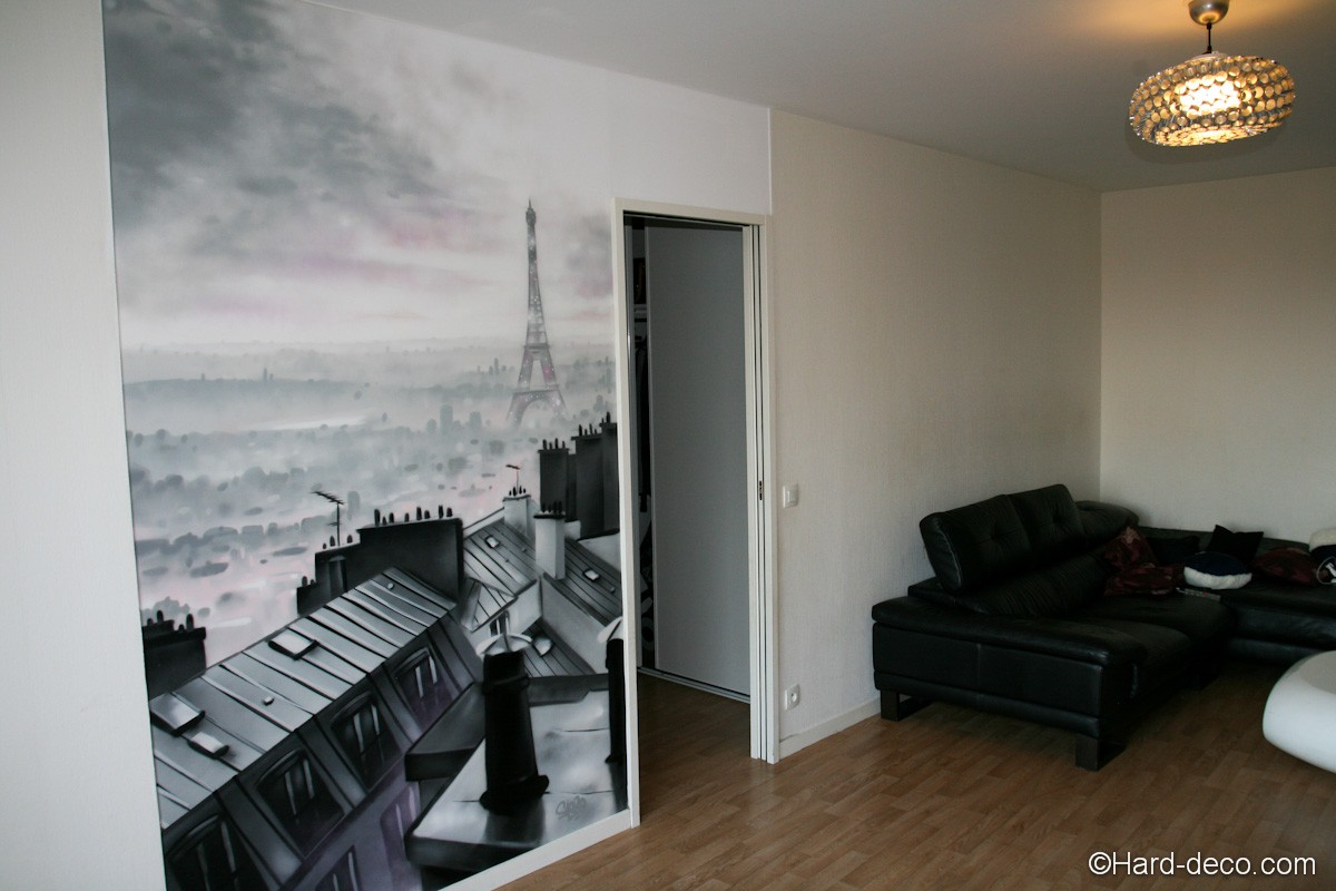 fresque murale d 39 interieur salon sur le th me des toits de paris. Black Bedroom Furniture Sets. Home Design Ideas