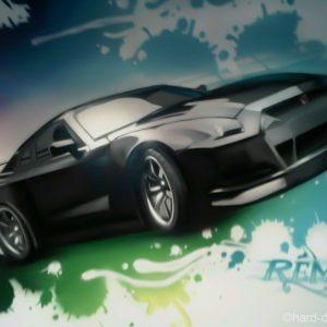Vue rapprochée sur la représentation à l'aérosol d'une Nissan GTR dans la chambre de Rémy