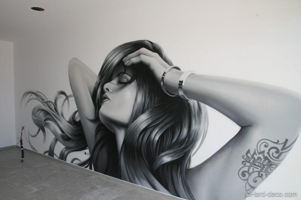 d coration fresque murale portrait de femme pour un salon de coiffure. Black Bedroom Furniture Sets. Home Design Ideas