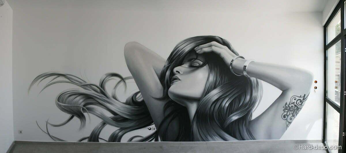 D coration fresque murale portrait de femme pour un salon de coiffure - Decoration interieur salon de coiffure ...