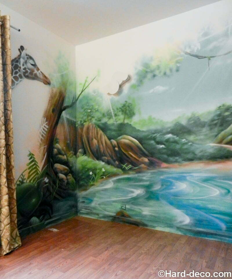 Id e peinture chambre jungle for Decoration murale jungle