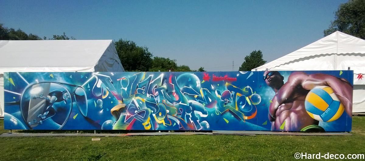 fresque graffiti sportif pour l 39 ucpa de la base de loisirs de torcy. Black Bedroom Furniture Sets. Home Design Ideas