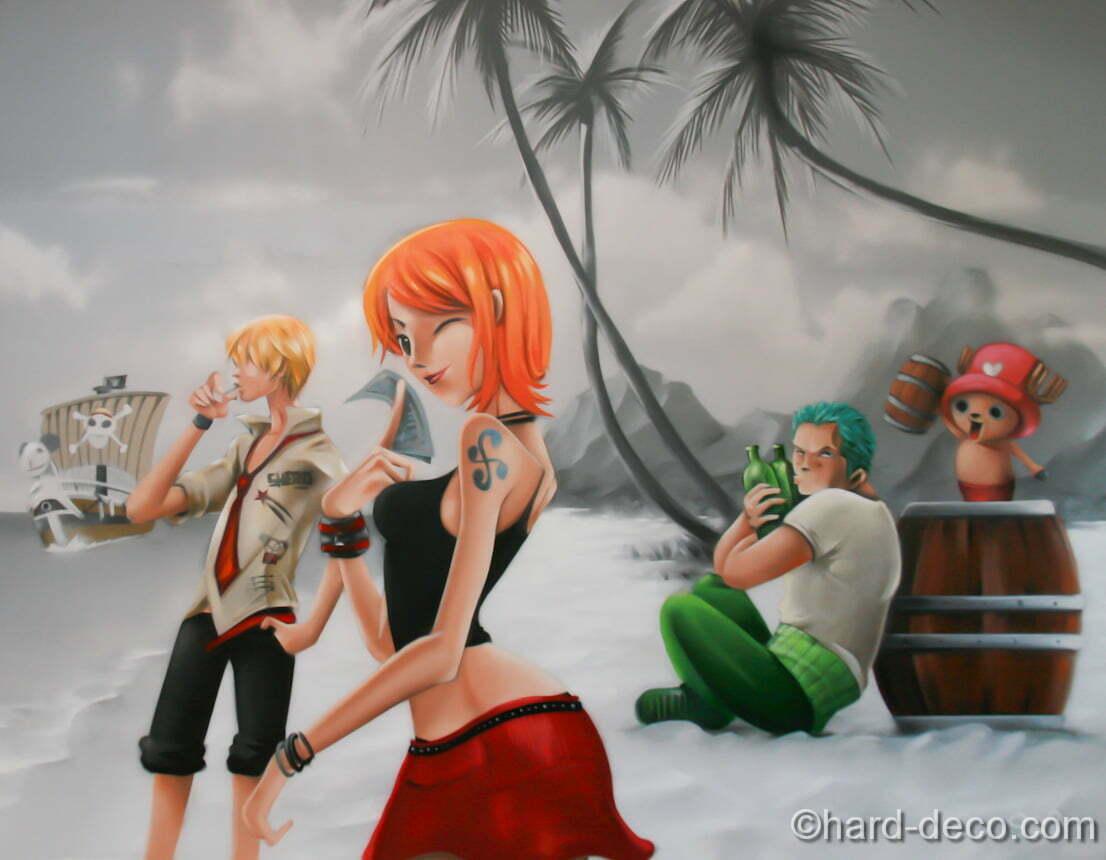 Fresque sur toile avec certains personnages du manga One piece dans un paysage de plage