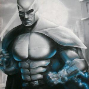 Représentation à l'aérosol du héros Batman sur une toile de 1,8m x 2,8m