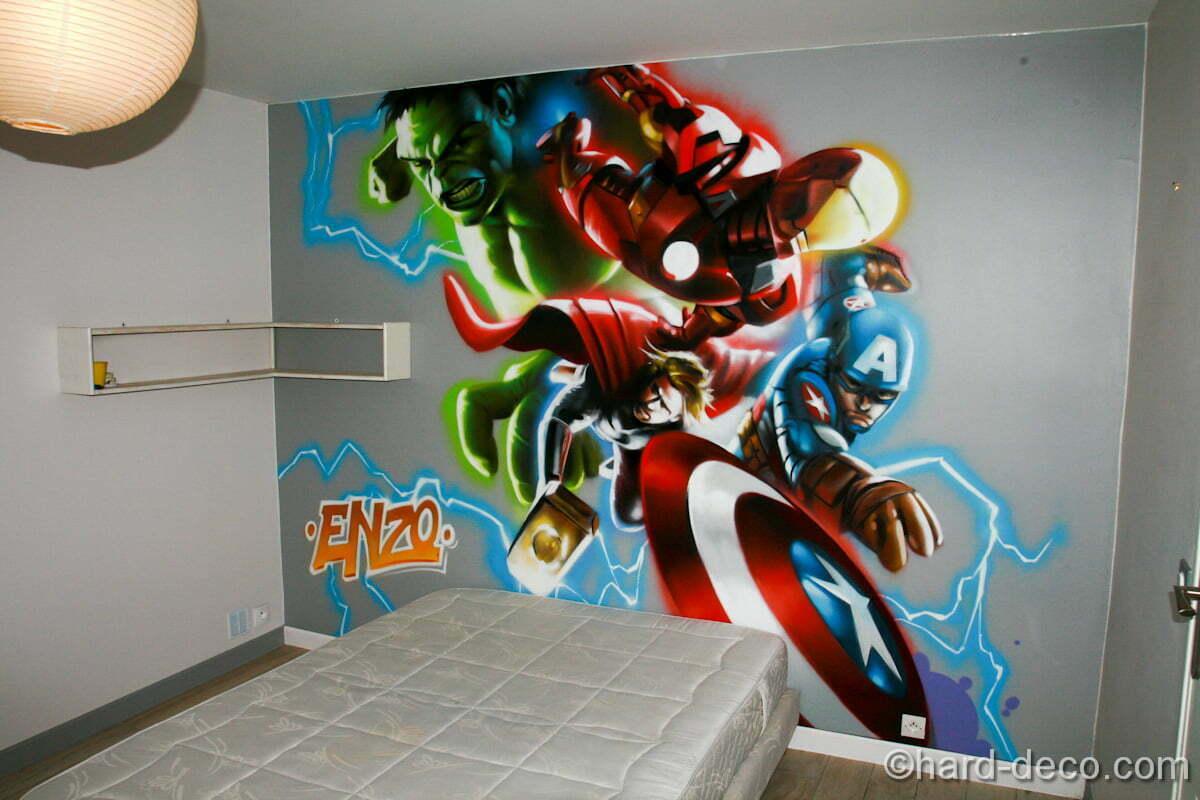 h ros comics d coration graffiti hard deco. Black Bedroom Furniture Sets. Home Design Ideas
