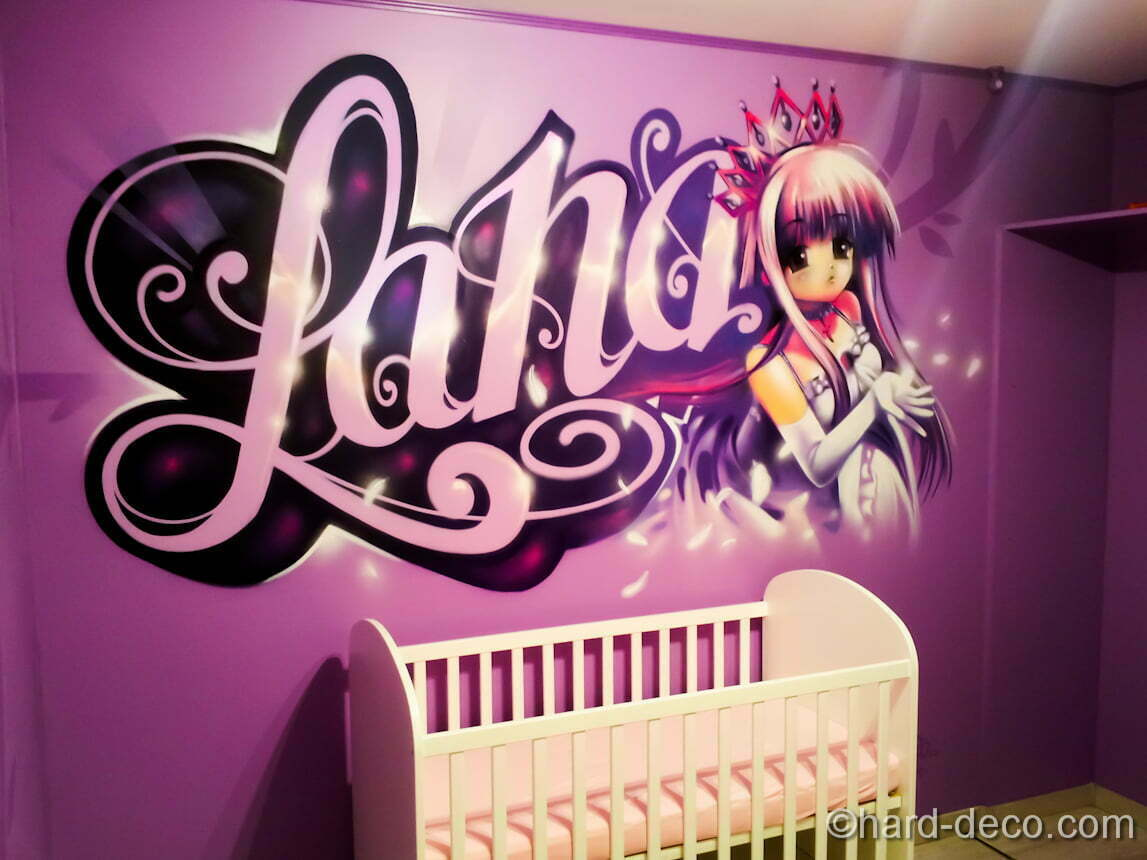 graffiti f erique avec personnage princesse manga. Black Bedroom Furniture Sets. Home Design Ideas