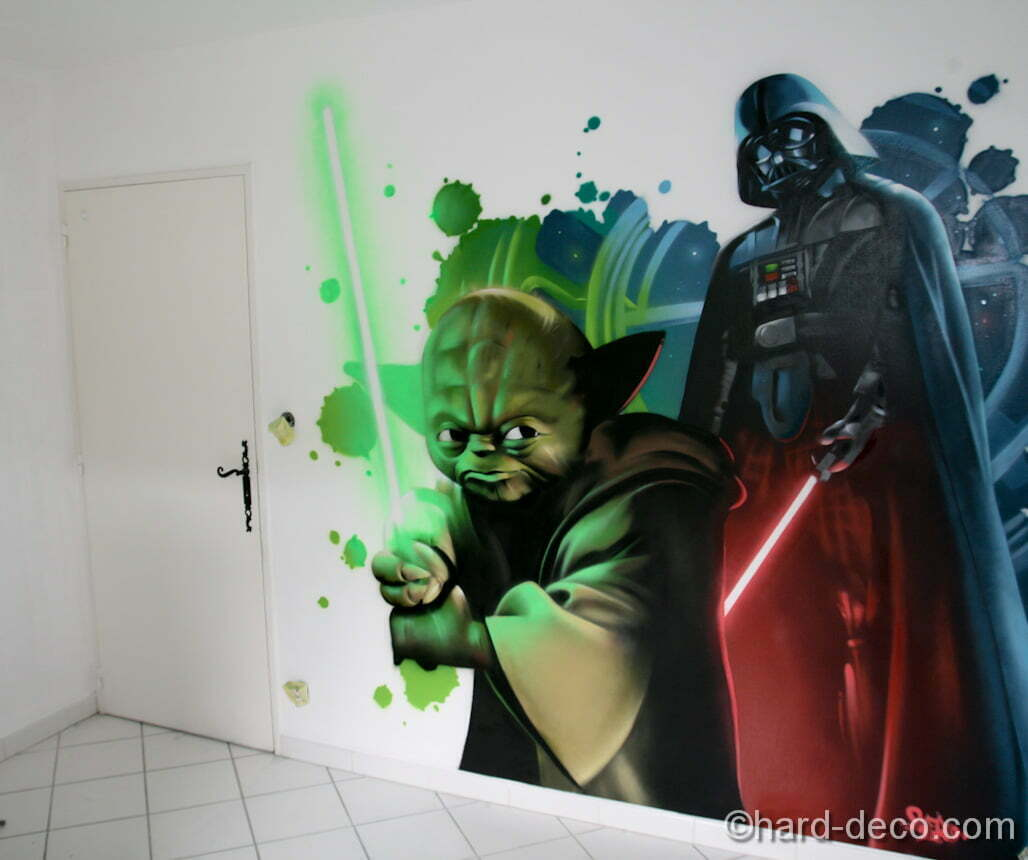 d cors star wars yoda dark vador dans une chambre d 39 ado. Black Bedroom Furniture Sets. Home Design Ideas