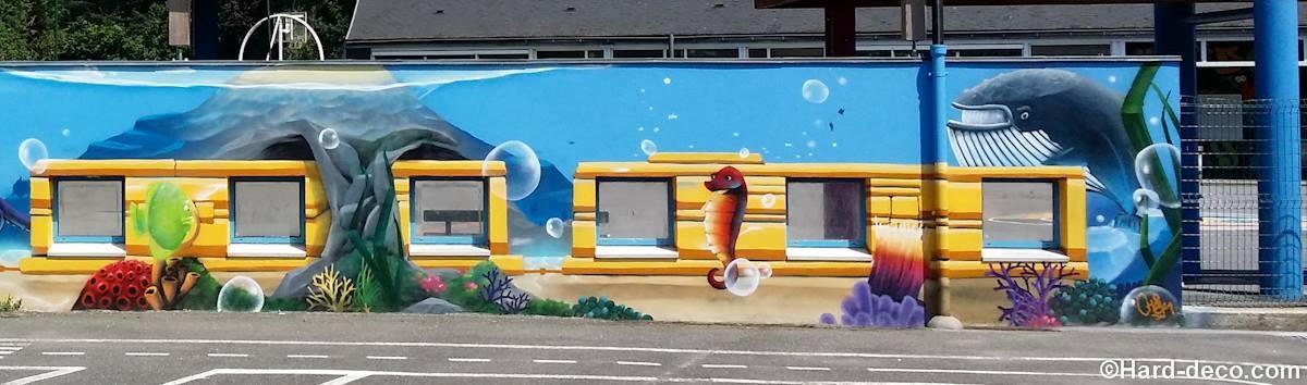 fresque dans une cours d 233 cole maternelle sous marin